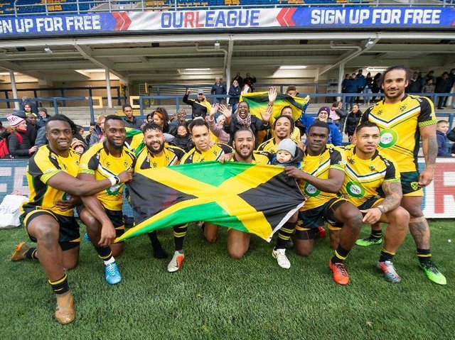 Jamaica players after thier Test against England Knights at Headingley in 2019. Picture by Allan McKenzie/SWpix.com.