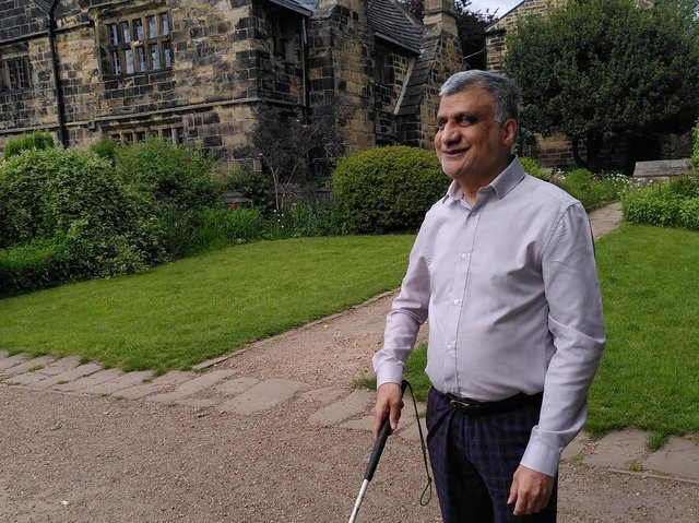 Blind hiker Khalid Hussain, 59, from Heckmondwike, will take the first steps on what he hopes will be a long career raising funds for good causes when he takes part in a Yorkshire Dales walk in July