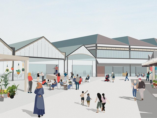 An artist's impression of plans for the new Dewsbury Market