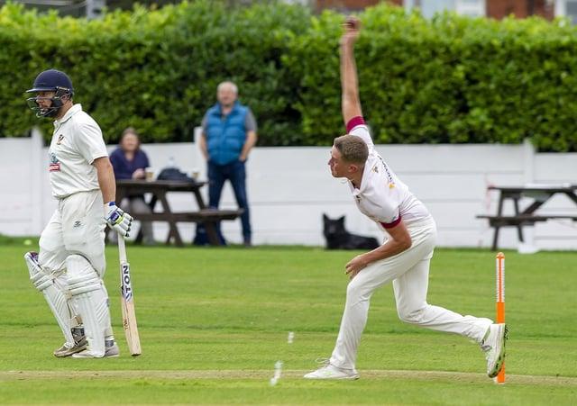 East Brierley bowler Reece Clark.