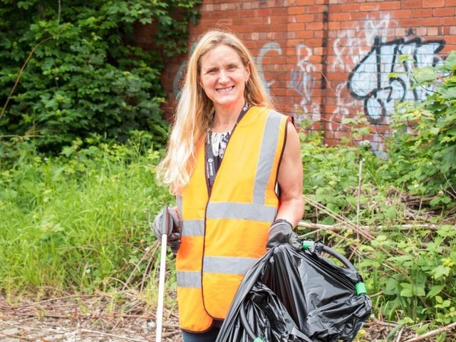 Kim Leadbeater, Labour's candidate in the upcoming Batley and Spen by-election, taking part in a litter pick in Heckmondwike earlier this month