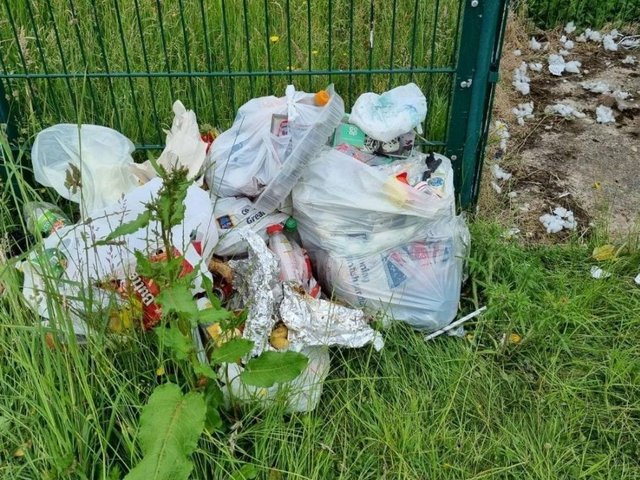 Rubbish left behind by travellers who camped near playing fields in Mirfield