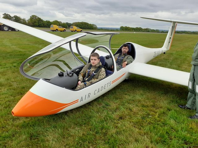 Cadet Aiden Booth in the glider preparing for launch
