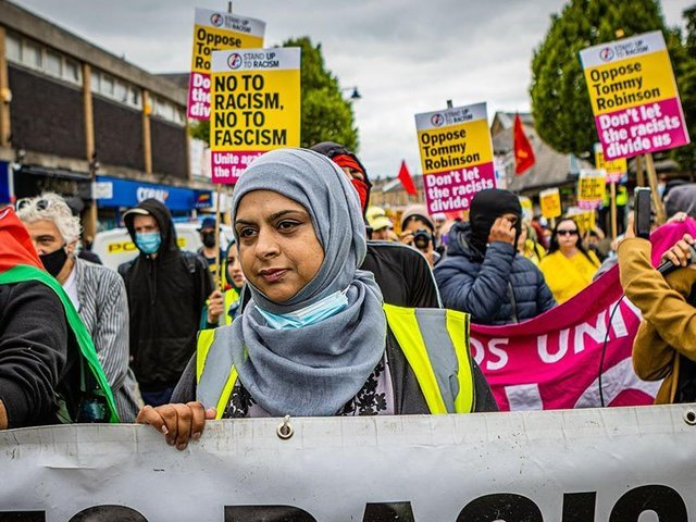 Stand Up To Racism rally and demonstration in Batley town centre on Saturday, June 26. Photo by John Rattigan