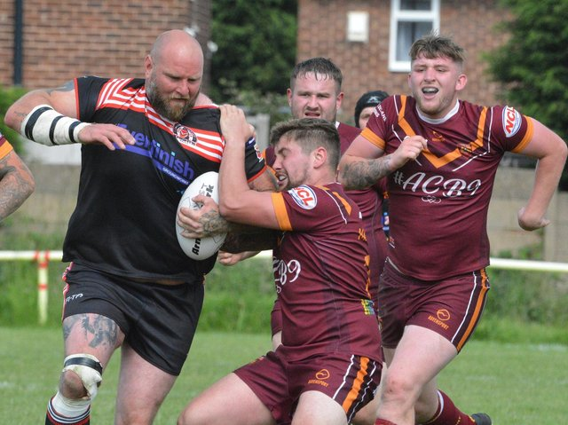 Dewsbury Moor Maroons go on the attack in their National Conference game against Normanton Knights. Picture: Rob Hare