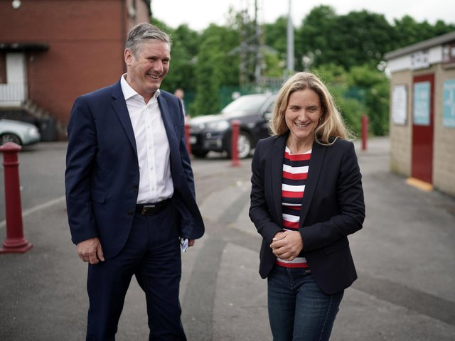 Labour leader Sir Keir Starmer and Batley and Spen by-election candidate Kim Leadbeater tour Batley Bulldogs stadium. Photo: Getty Images