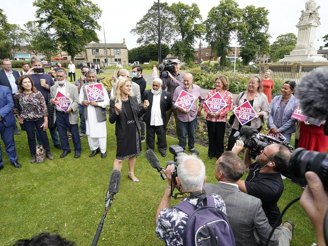 Kim Leadbeater speaks to Labour party members in Clackheaton Park after she won the Batley and Spen by-election