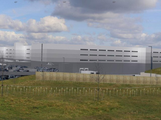 An artist's impression of the proposed giant warehouse in Cleckheaton