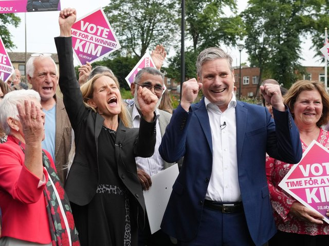 Kim Leadbeater and Labour leader Sir Keir Starmer celebrate with supporters in Cleckheaton after her victory in the Batley and Spen by-election. Photo: Getty Images