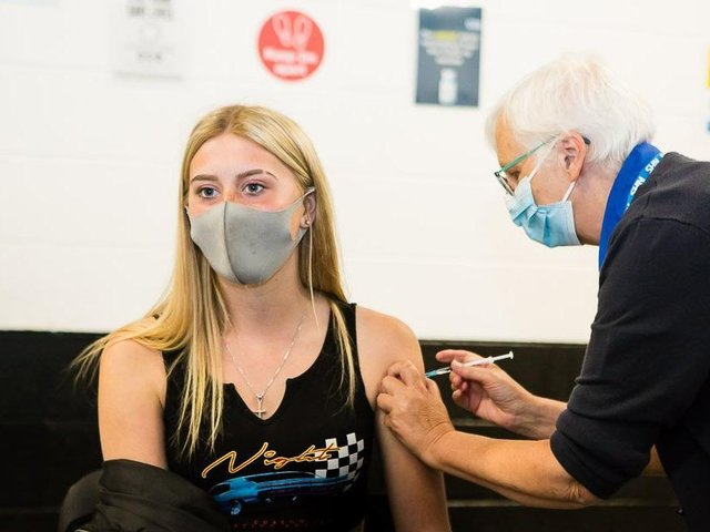 Jessica receiving her Covid-19 vaccination at a walk-in service in Kirklees