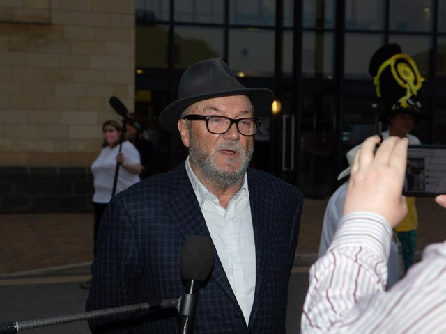 George Galloway speaking to the media after the Batley and Spen by-election count last week