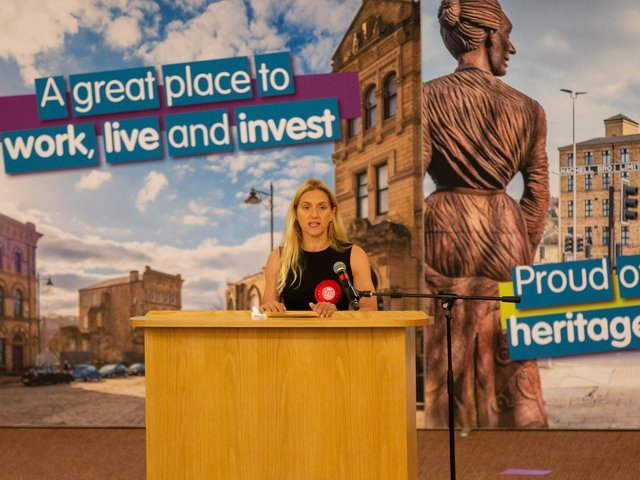 Kim Leadbeater gives her acceptance speech following her victory in last week's Batley and Spen by-election