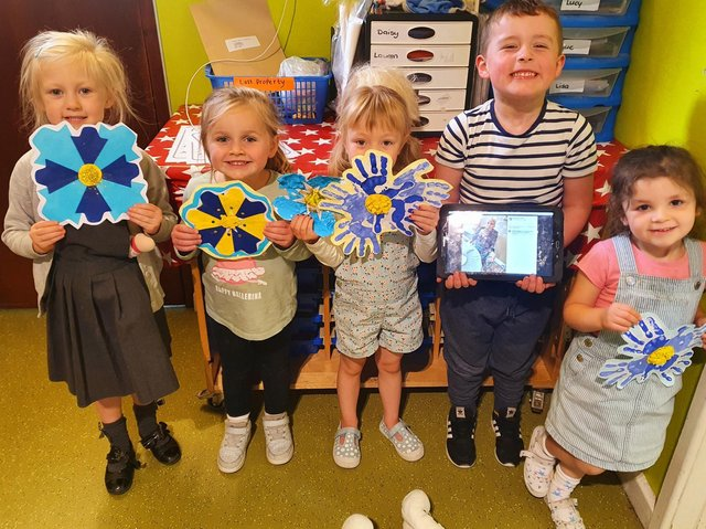 Children at Child's Play nursery on Thornhill Road in Dewsbury have made decorations for nearby Oak Park care home