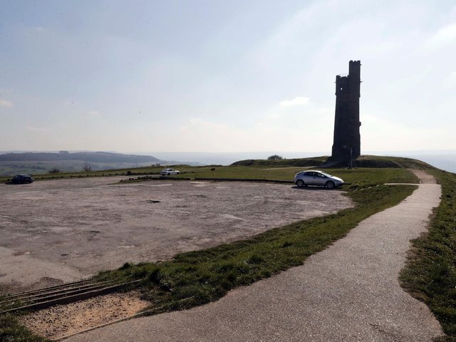 A view of Castle Hill in Huddersfield, showing the site of the former Castle Hill Hotel. A new café and interpretation centre is planned for the area