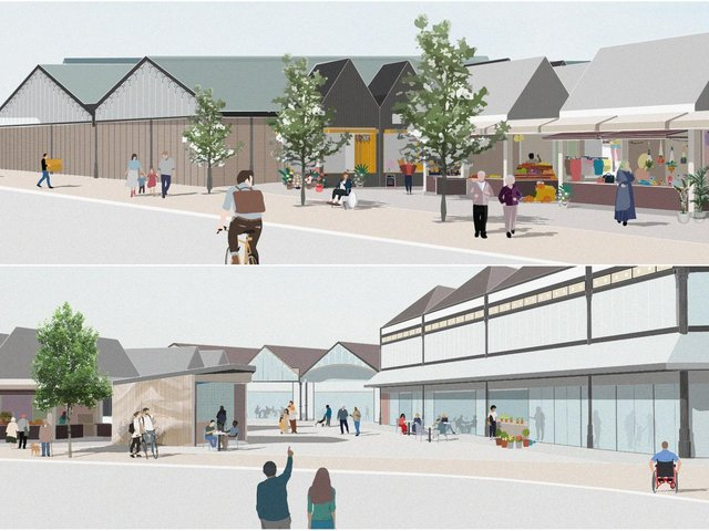 An artist's impression of how a revamped Dewsbury Market might look. (Image: BDP)