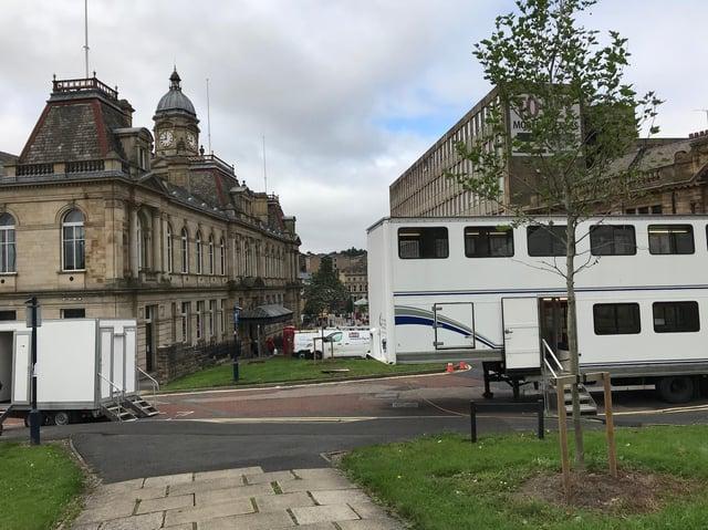 Filming at Dewsbury Town Hall.